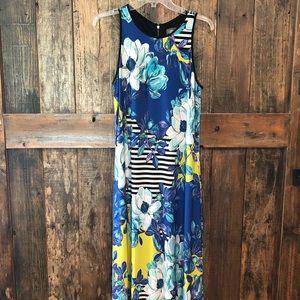 Vince Camuto, 8, Blue & Black Floral Maxi Dress
